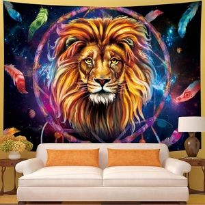 NEW Lion Colorful Dreamcatcher Wall Tapestry XL